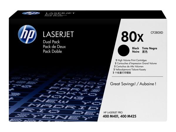 HP 80x - 2er-Pack - Hohe Ergiebigkeit - Schwarz - Original - LaserJet - Tonerpatrone (CF280XD)