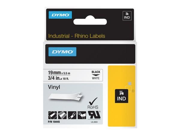 Dymo IND - Vinyl - Schwarz auf Weiß - Roll (1.9 cm x 5.5 m)