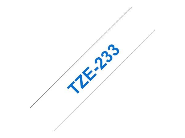 Brother TZe233 - Blau auf weiß - Rolle (1,2 cm x 8 m) 1 Rolle(n) laminiertes Band