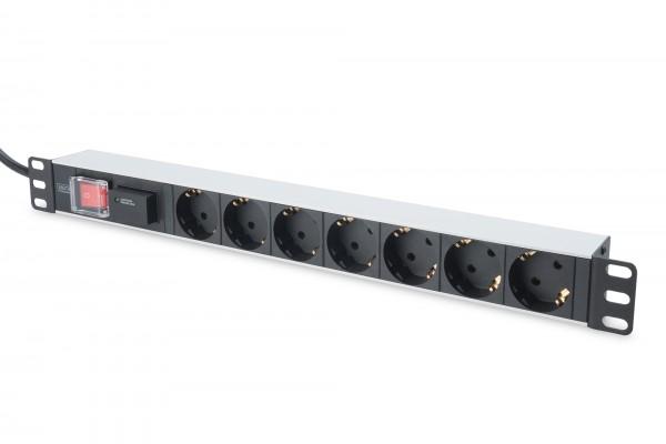 DIGITUS Steckdosenleiste mit Aluminiumprofil und Schalter, 7-fach Schutzkontaktsteckdose, 2 m Zuleit