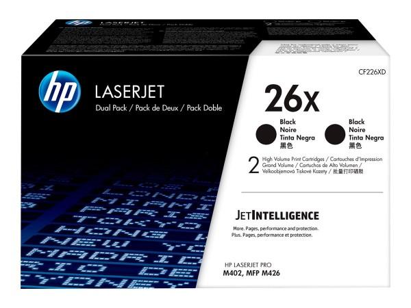 HP 26X - 2er-Pack - Hohe Ergiebigkeit - Schwarz - Original - LaserJet - Tonerpatrone (CF226XD)