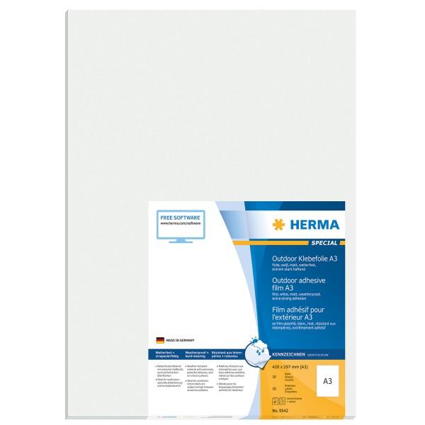 HERMA 9542 - Weiß - Rechteck - A3 - Universal - Polyethylen - Matte