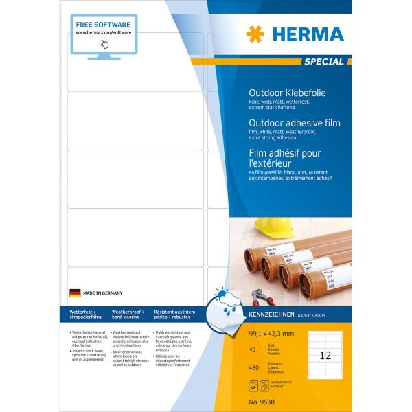 HERMA 9538 - Weiß - Rechteck - A4 - Universal - Polyethylen - Matte