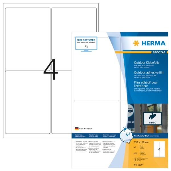 HERMA 9539 - Weiß - Rechteck - A4 - Polyethylen - Matte - Laser