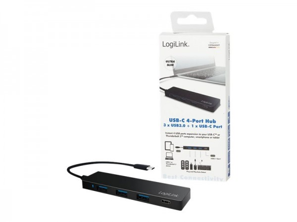 LogiLink Ultra-slim USB-C 3.1 hub - Hub - 3 x SuperSpeed USB 3.0 + 1 x USB-C