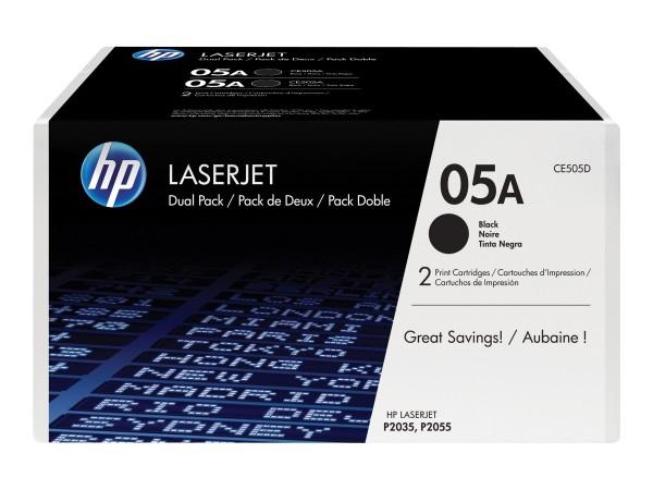 HP 05A - 2er-Pack - Schwarz - Original - LaserJet - Tonerpatrone (CE505D)