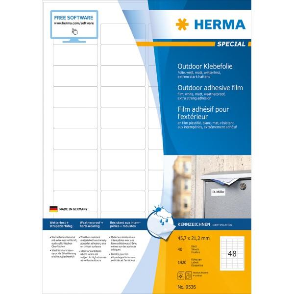 HERMA 9536 - Weiß - Rechteck - A4 - Universal - Polyethylen - Matte