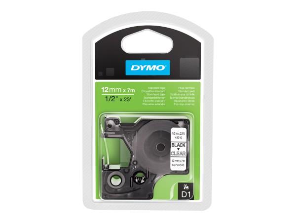 Dymo D1 - Standard-Etikettierband - schwarz auf durchsichtig
