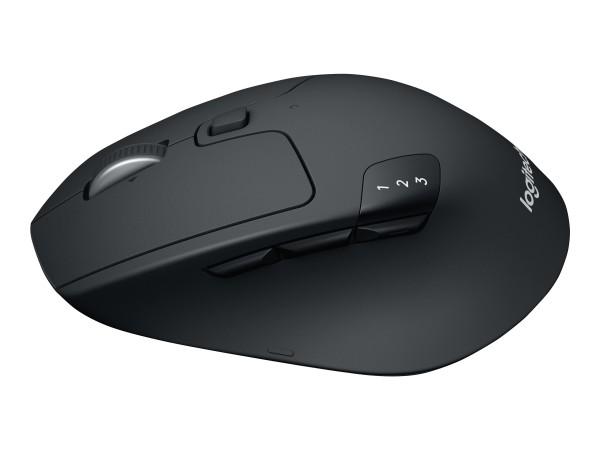 Logitech M720 Triathlon - Maus - Für Rechtshänder - optisch - 7 Tasten - kabellos - Bluetooth, 2.4 G