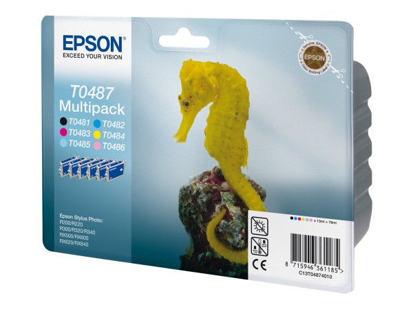 Epson Multipack T0487 - 6er-Pack - 78 ml - Schwarz, Gelb, Cyan, Magenta, hellmagentafarben, hell Cya