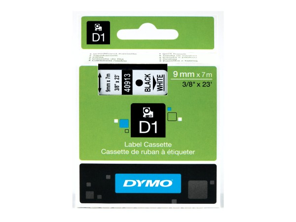 Dymo D1 - Selbstklebend - Schwarz auf Weiß - Rolle (0,9 cm x 7 m)