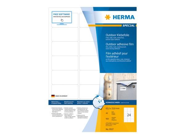 HERMA Special - Polyethylen (PE) - matt - extrem stark haftend - weiß - 63.5 x 33.9 mm 960 Etikett(e