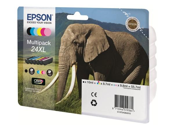 Epson 24 Multipack - 6er-Pack - 29.1 ml - Schwarz, Gelb, Cyan, Magenta, hellmagentafarben, hell Cyan