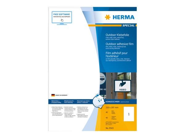 HERMA Special - Polyethylen (PE) - matt - extrem stark haftend - weiß - A4 (210 x 297 mm)