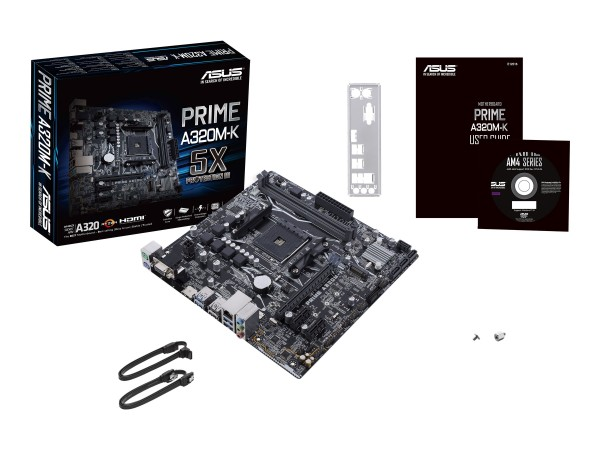 ASUS PRIME A320M-K - Motherboard - micro ATX - Socket AM4 - AMD A320 - USB 3.0 - Gigabit LAN - Onboa